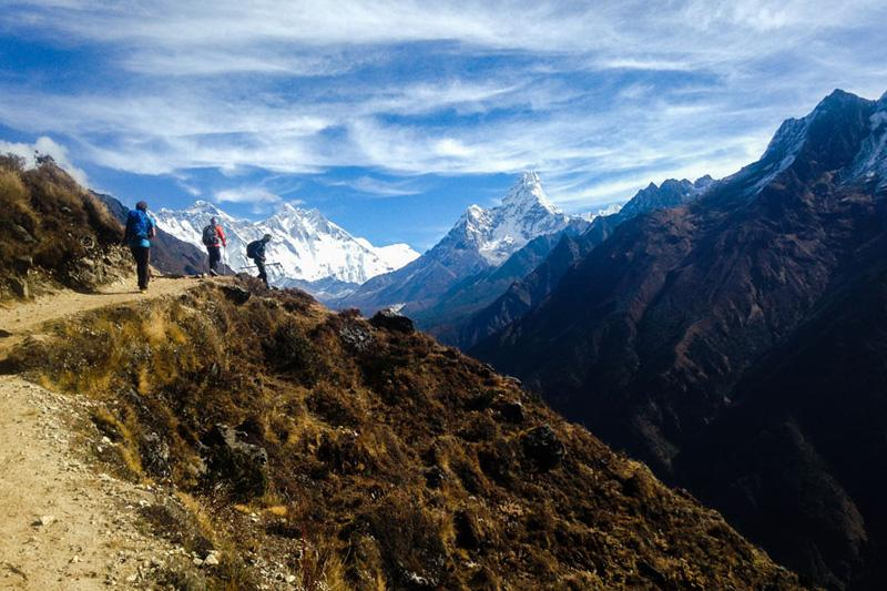 Panoramic  view on Mount Everest from Everest view Hotel